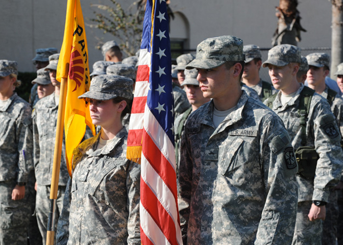 Soldiers with Flags