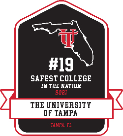 #19 Safest School in the Nation 2021 The University of Tampa Tampa, Florida Badge
