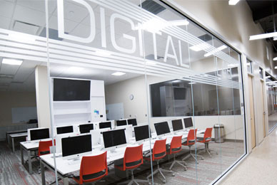 High-tech classrooms with state-of-the-art computer technology.