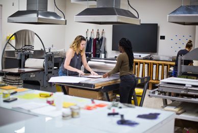 The printmaking studio is a re-imagined space for students in the arts.
