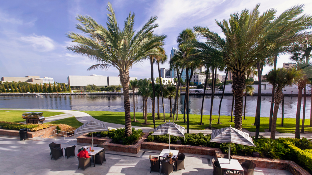 Patio with table and chairs overlooking Hillsborough River