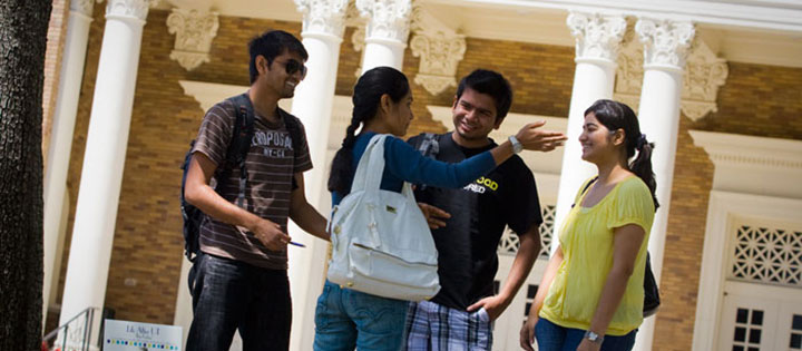 International students talking on campus