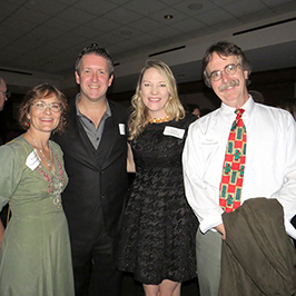 Dean of the College of Natural and Health Sciences Paul Greenwood (right) <br/> and his wife, Tracey Greenwood (left) with Gregory Burns (Physician Assistant Medicine) and his guest, Katie Callaway (center)<br/>