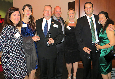 From left: Jeanne Gregory (Bursar), JoAnn Scott and her husband, <br/>Greg Scott (IT), Peter Tanacs and his wife, Jenn Tanacs (IT),<br/> Steve Carroll (IT) and his wife, Kelly Carroll<br/>