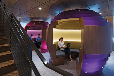 Two unique think pods provide quite space for <br/>private or small-group brainstorming.