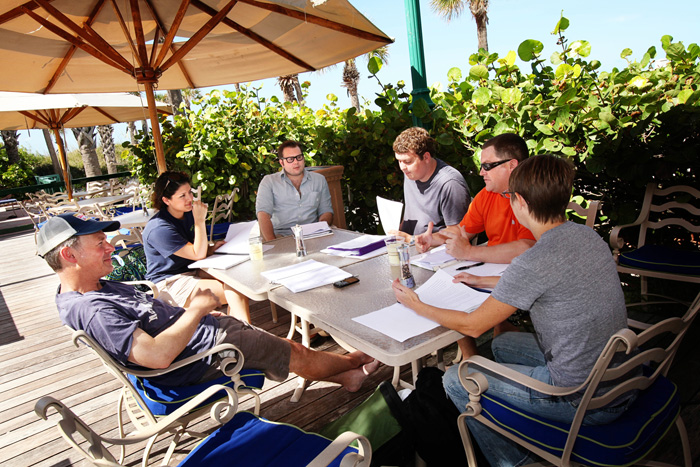 MFA faculty Brock Clarke holds a workshop at the Don Cesar hotel where F. Scott and Zelda Fitzgerald used to frequent.