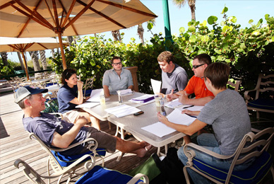 MFA faculty Brock Clarke holds a workshop <br/>at the Don Cesar hotel where F. Scott <br/>and Zelda Fitzgerald used to frequent.