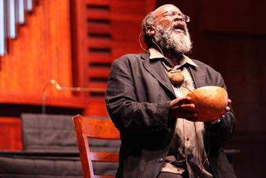 Novelist and literary bluesman Arthur Flowers reads and sings in Sykes Chapel and Center for Faith and Values.