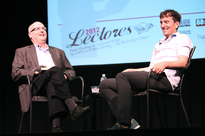 Guest Writer Nick Flynn is interviewed by Creative Loafing editor David Warner on stage at Falk Theater after his reading.