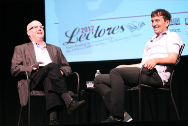 Guest Writer Nick Flynn is interviewed by <br/>Creative Loafing editor David Warner on stage at <br/>Falk Theater after his reading.<br/>