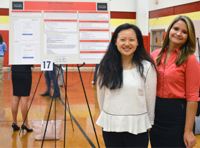 Cybersecurity students present research during research week.