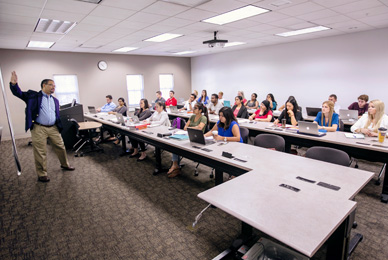 Intimate class sizes allow students to<br/> develop close, meaningful relationships with<br/> their professors.<br/>