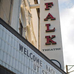 The Falk Theatre, built in 1928 is <br/>a 1,000-seat historic theater fully-equipped to <br/>modern standards.
