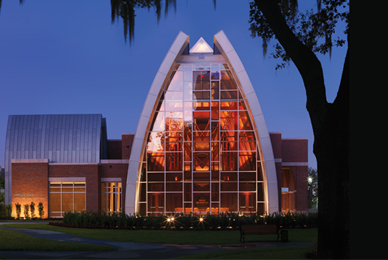 The Sykes Chapel and Center for Faith and Values<br/> is an acoustically superior and adaptable space <br/>for musical performances.