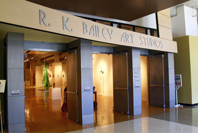 Bailey Art Studios includes an art gallery <br/>and library; drawing, printmaking, painting and ceramics studios; <br/>dance studio; photo lab; an outdoor art workplace <br/>and sculpture display area and several classrooms.