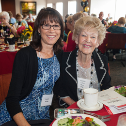 Alumni attend the President's Reception <br/>on the East Verandah of Plant Hall <br/>during Homecoming weekend.