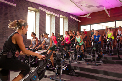 The fitness center features six group exercise<br/> rooms, which includes an indoor cycling room.<br/>