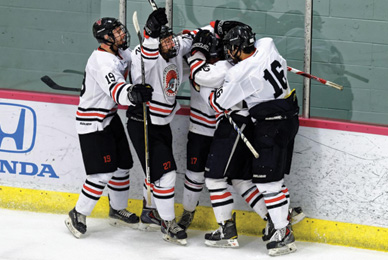 The UT Ice Hockey Club plays in <br/>the American Collegiate Hockey Association league.