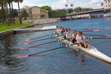 UT's crew team practices on the <br/>Hillsborough River, which runs adjacent to campus.<br/>