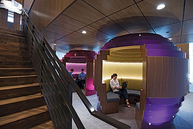 The Lowth Entrepreneurship Center's distinctive<br /> think pods provide an ideal place for brainstorming.<br/>