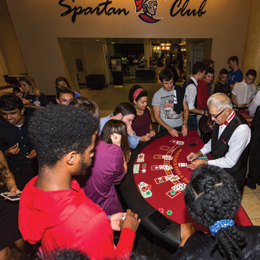 Casino Night, hosted by Student Productions,</br> is a night of entertainment <br/>while students participate in the most <br/>popular casino card games.