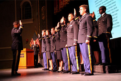 UT Army ROTC graduates are commissioned <br/>as second lieutenants in the U.S. Army.