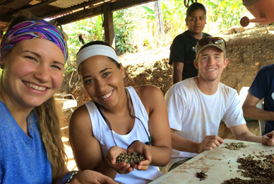 A PEACE Alternative Break trip to Nicaragua <br/>partnered the students with members of the <br/>local women's cooperative in several projects.<br/>