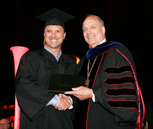 Among the students receiving diplomas was former UT baseball player and Major League Baseball great Tino Martinez.
