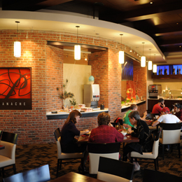 Panache is an upscale restaurant that offers<br/> contemporary fusion-style cuisine.<br/>