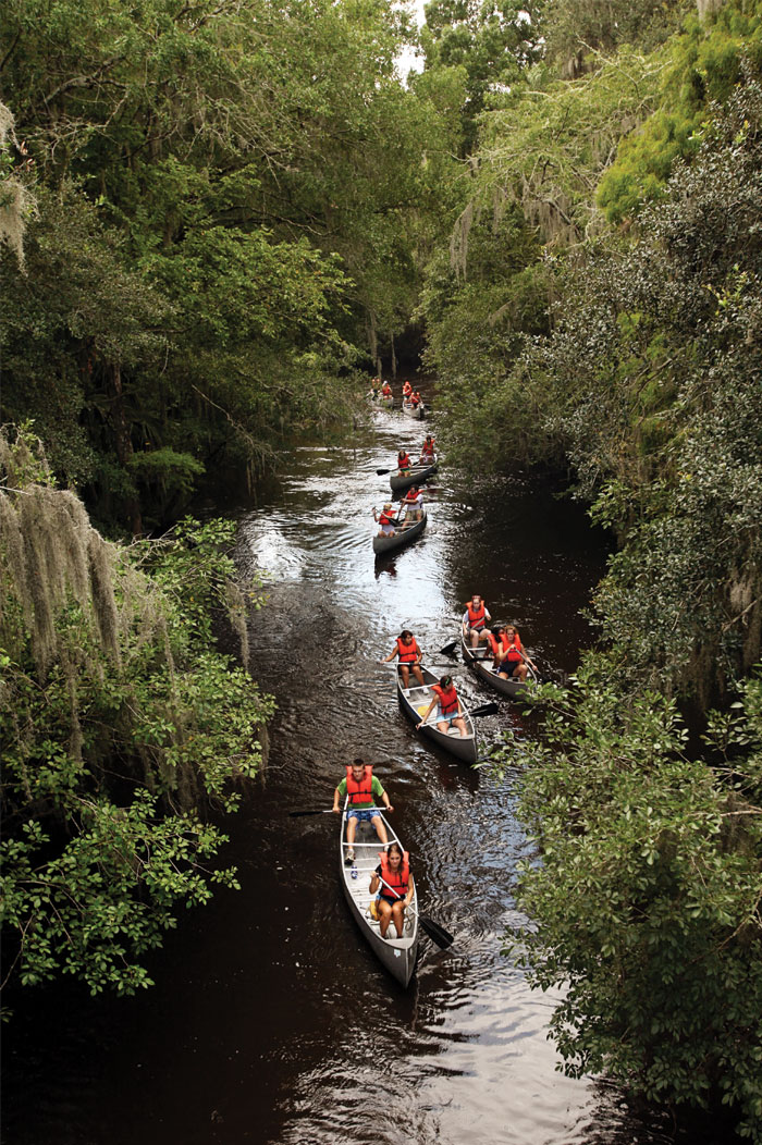 UT students take a canoe trip down the Alafia River during the ELITE Outdoor Retreat.