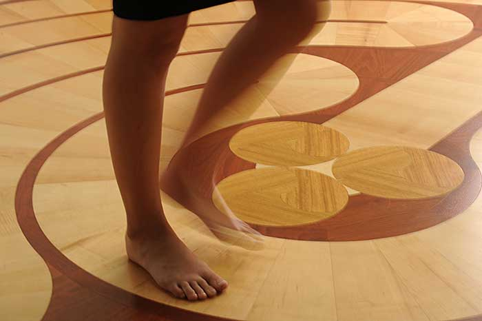 Students learn how to de-stress and become more mindful as they walk the labyrinth.