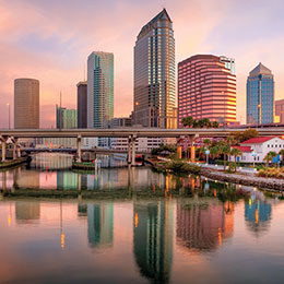 UT is located on the banks of the <br/> Hillsborough River directly across from<br/> downtown Tampa.<br/>