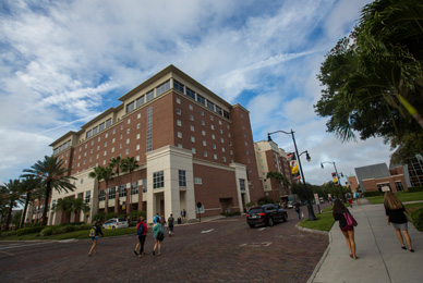 The Vaughn Center has double and triple <br/>occupancy rooms and serves as the <br/>student hub for the campus.