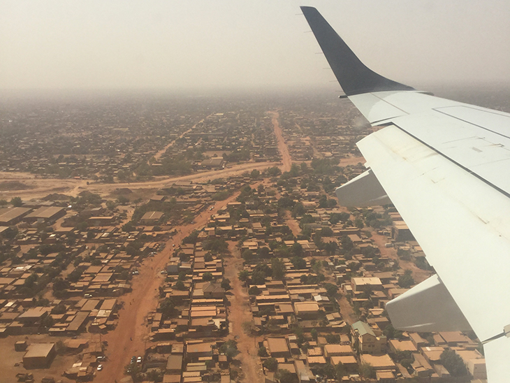 Aeria photo of Burkina Faso from a plane window.