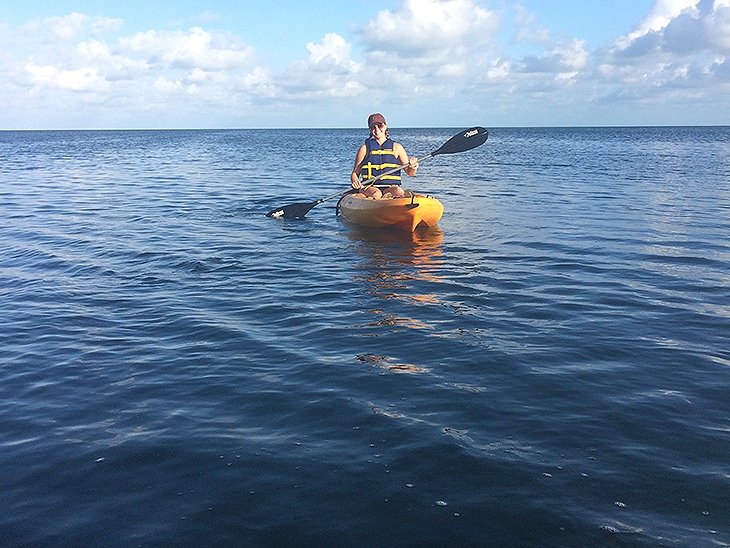 Senior Katie Sturmer in a kayak in the Florida Keys