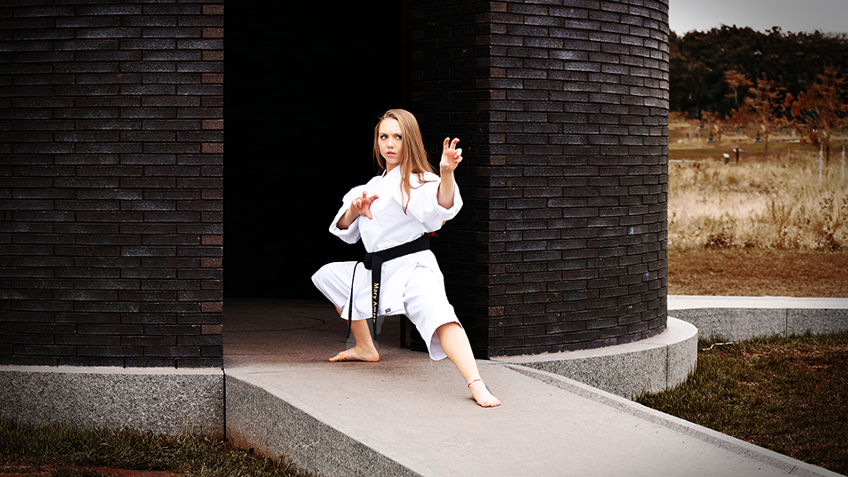 Mary Amato '23 in a karate stance